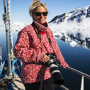 Portrait of photographer on a sailboat in the high Arctic ,Svalbard, Norway