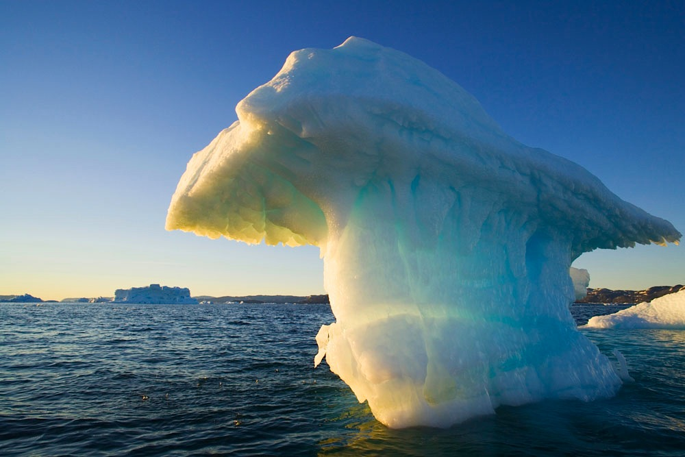 small iceberg drifting in Disko Bay