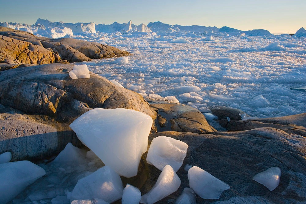 ice pieces on rocky shore, fiord covered with small drifting ice pieces and large icebergs in background