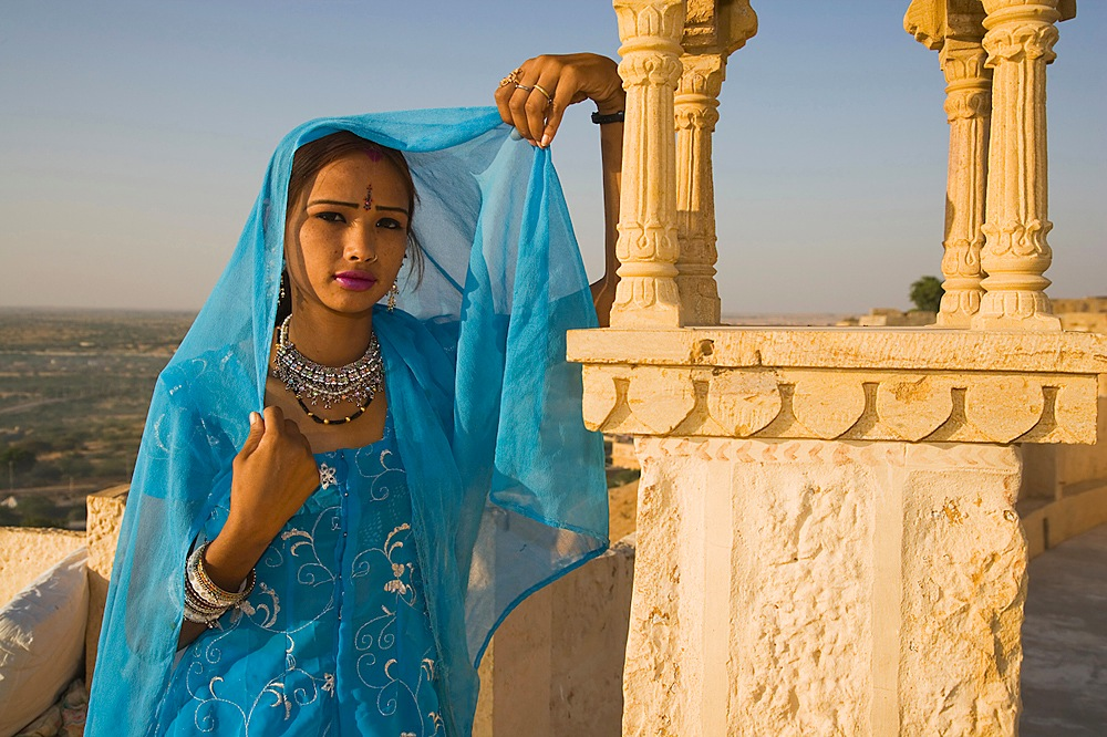 Rajasthani girl in roof top cafe
