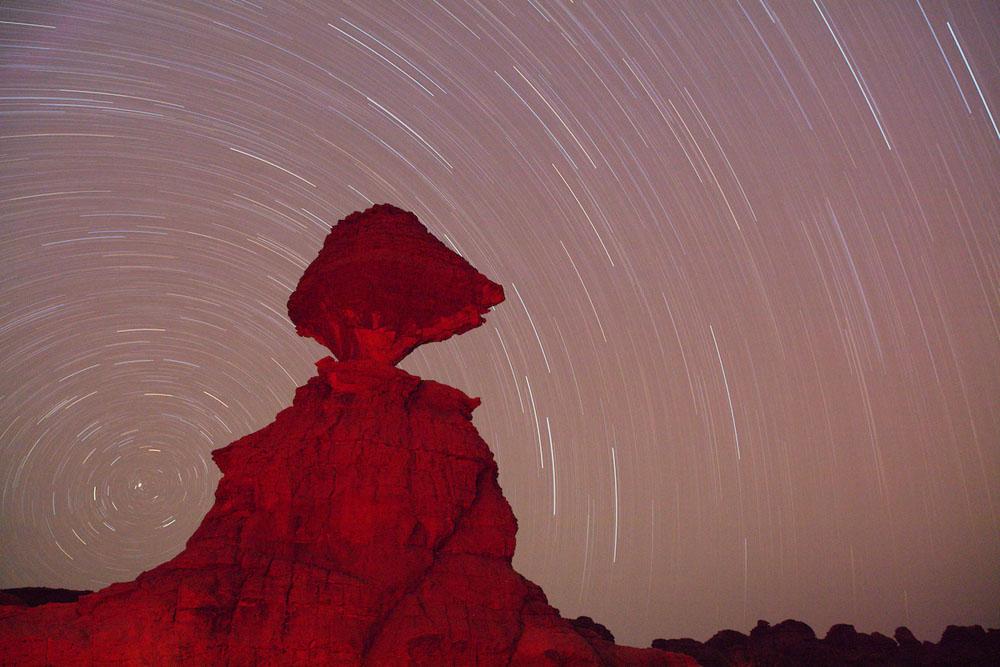 Bizarre rock formation in Ennedi at night