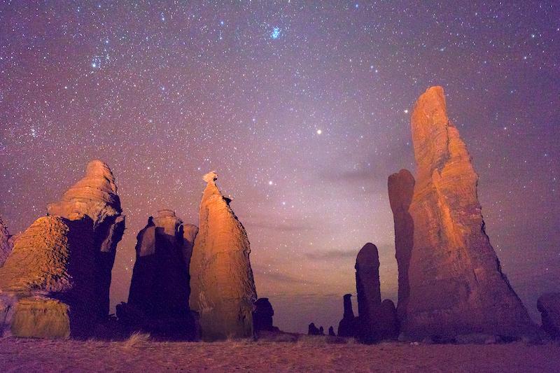 Bizarre rock formations in Ennedi at night