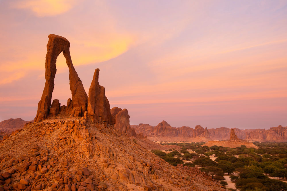 Rock arch at sunset in Ennedi